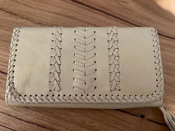 Cream sky leather purse