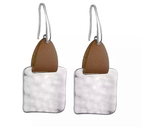Square leather earrings - silver