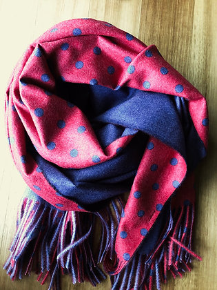 Red/blue dots cashmere scarf