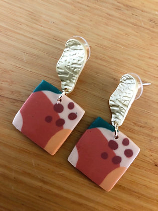 Polly abstract square earrings