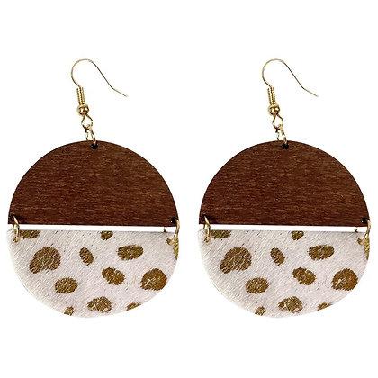 Half - gold spot earrings