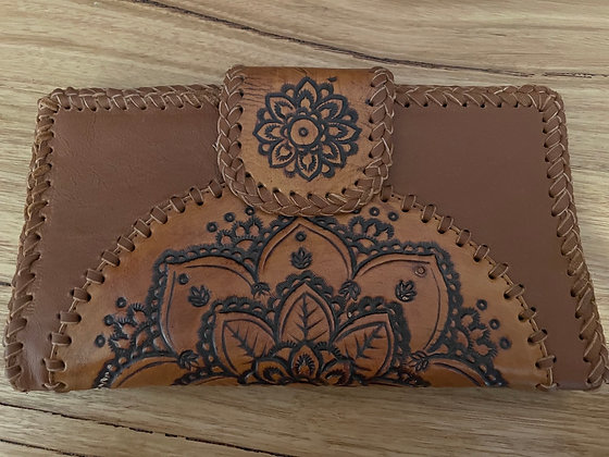Detailed brown leather purse
