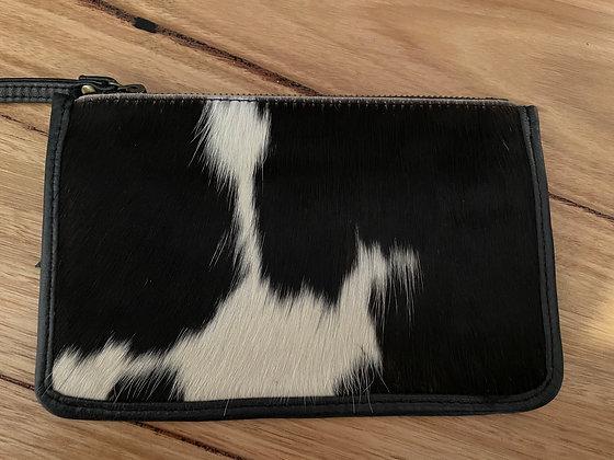 Black hair leather coin purse