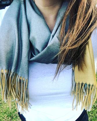 Mustard/grey cashmere scarf