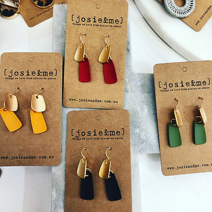 Elegant earrings - green, red, orange, black