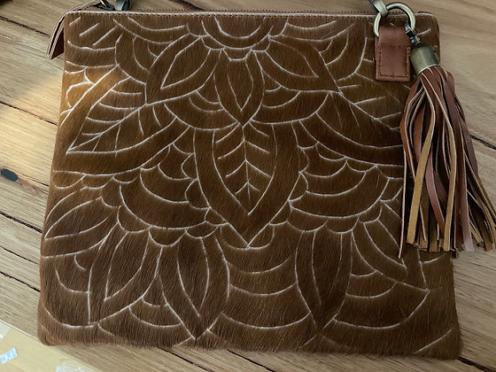 Scetched hair leather bag