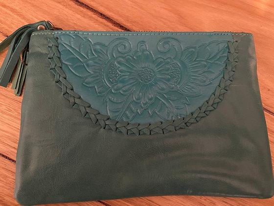 Green semi leather clutch