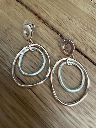 Rose silver doubles earring