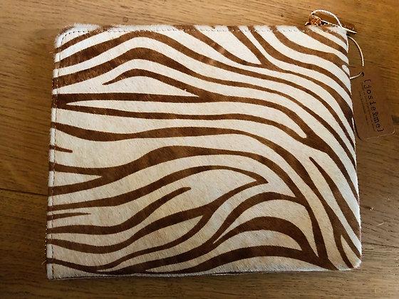 Copy of Tan/white zebra clutch