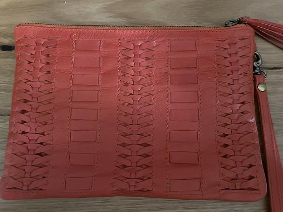 Orange detailed leather clutch
