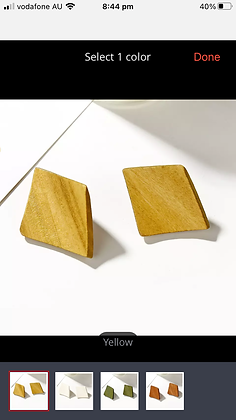 Yellow wood earring