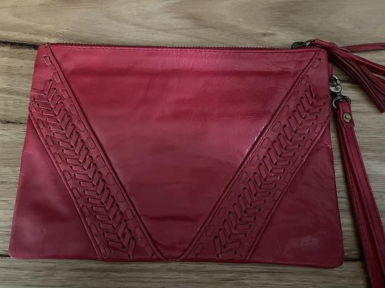 Red arrow leather clutch