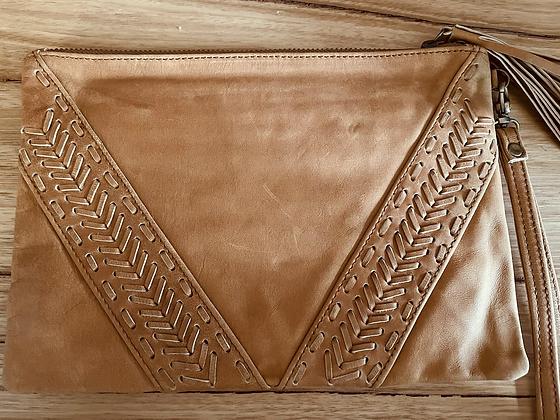 Tan arrow leather clutch