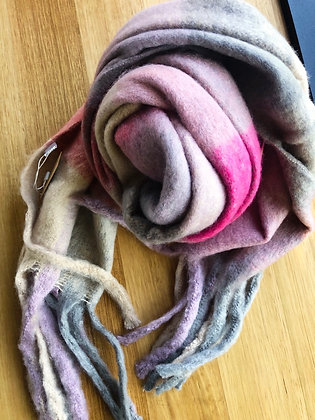 Pink thick winter scarf