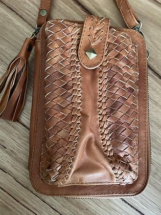 Tan leather hip purse