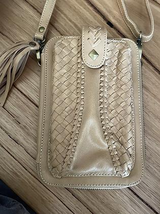 Cream leather hip purse
