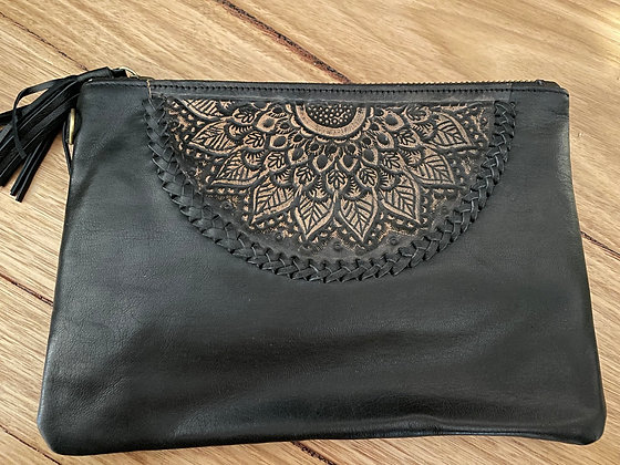 Etched semi leather clutch