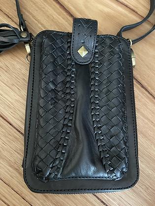 Black leather hip purse