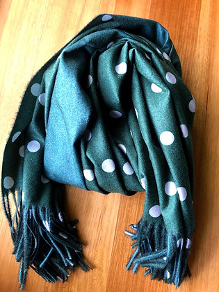 Green dots cashmere scarf