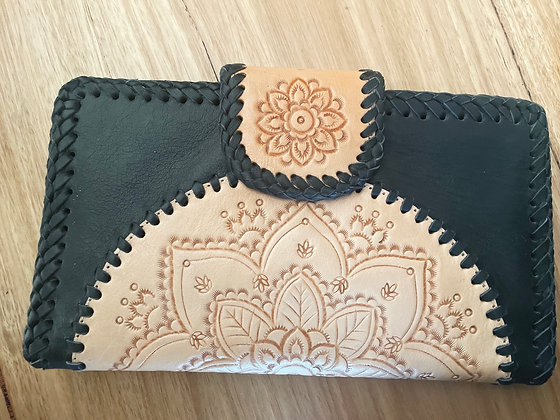 Detailed black leather purse