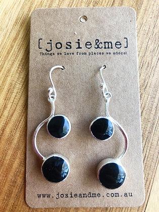 Black b earrings