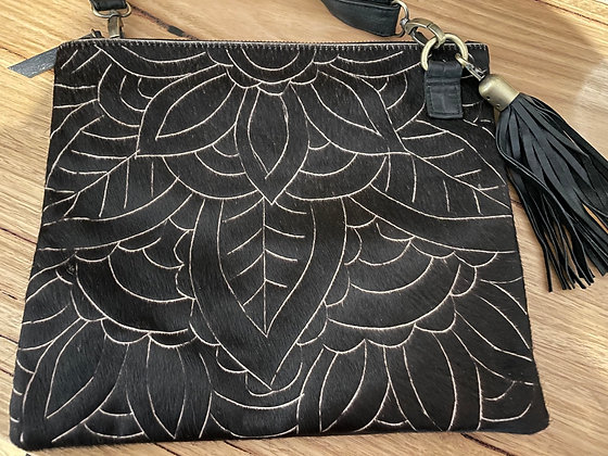 Scetched Black hair leather bag