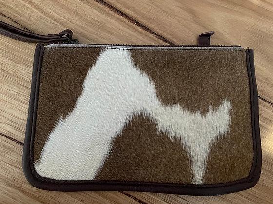 Brown hair leather coin purse