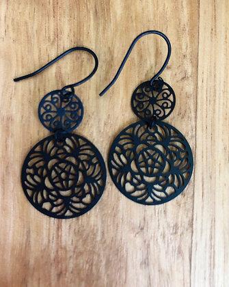 Black disco earrings