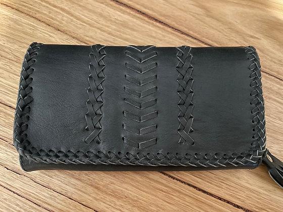 Black sky leather purse
