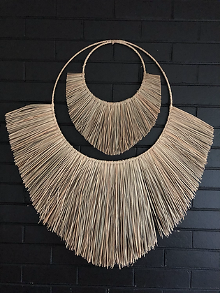 Natural double fringed wallhanging (large)