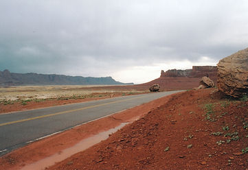 Journey, Vermillion Cliffs National Monument, Arizona, rocks, rain, fog, red, highway