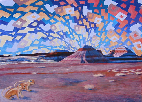 Petrified Forest National Park, Arizona from Artist in Residence Program colored pencil harris' ground squirrel badlands grass