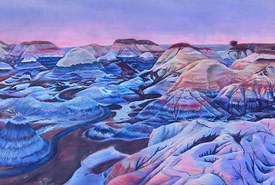 wax pastel and watercolor on colored paper badlands formations desert Blue Mesa, Petrified Forest National Monument, Arizona