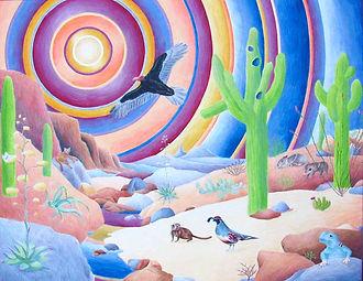water color, cut paper, colored pencil inca dove, collared lizard, ocatillo, prickley pear, saguaroSonoran Sunset (Sonoran Desert National Monument, Arizona)
