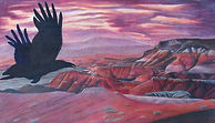 colored pencil Raven (Petrified Forest National Park, Arizona) Artist in Residence Program