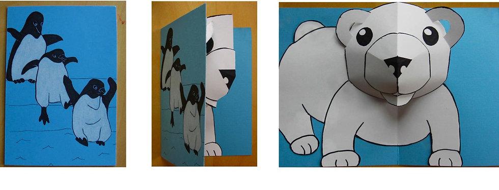 Pop up paper engineering polar bear penguin