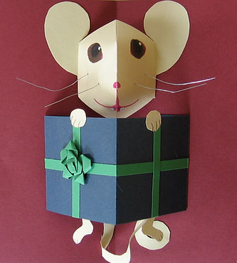 pop up paper engineering mouse handmade bow gift wire whiskers