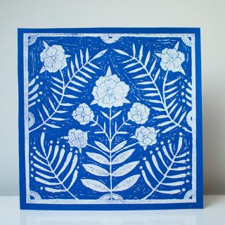 Flower tile print, Cobalt/White