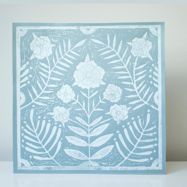 Flower tile print, Duck egg Blue/White