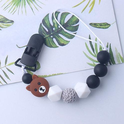 Support pour pendentif à mordre modèle Ourson et perles silicones
