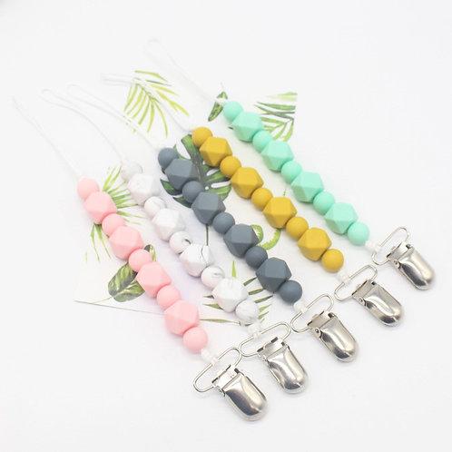 Support pour pendentif à mordre en perles de silicone