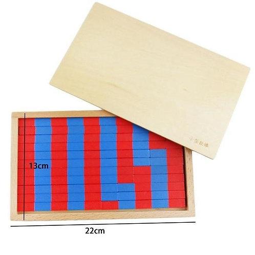 Barrettes bois rouge et bleu boite bois
