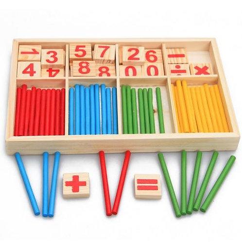 Set mathématiques boite en bois