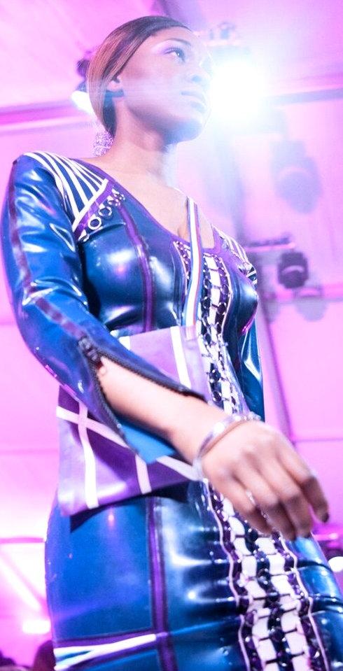 M.Krew Blue Latex Mini Dress