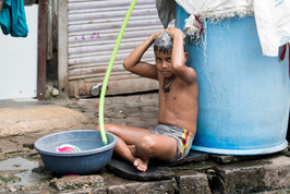 Showering in the street
