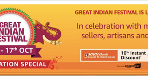 Great Indian Festival Sale 13th October 17th October 2019:  Extra10% ICICI + Up to 90% Off Deals