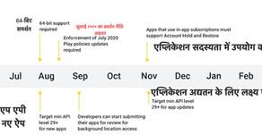 आगामी Android और Google Play समय सीमा | ADMUINFO.COM
