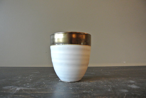 Small Round White & Gold Tipped Vase