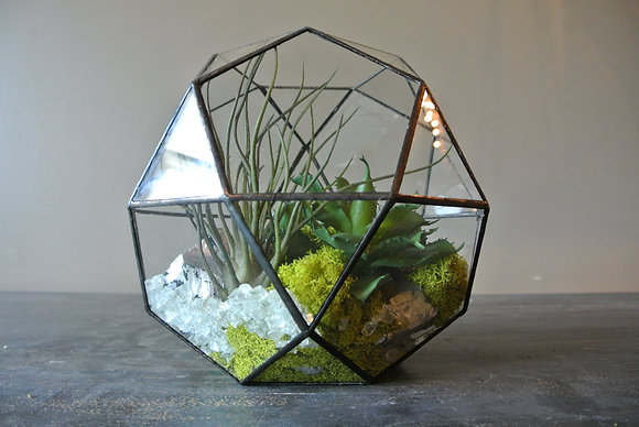Ball Terrarium with Silver Stones