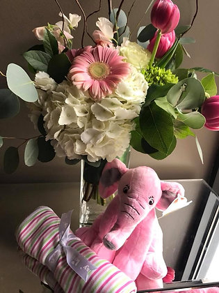 Baby Girl Bokay, Pink Elephant, and Gift